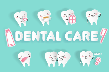Tooth with dental care on the green background