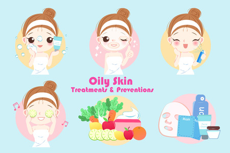 woman with oily skin treatment preservation on the blue background Vectores