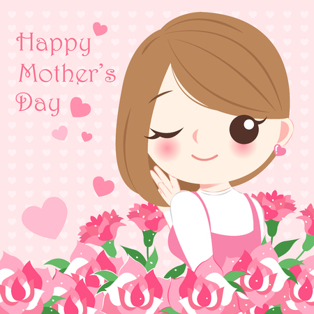 cartoon happy mother day on the pink background