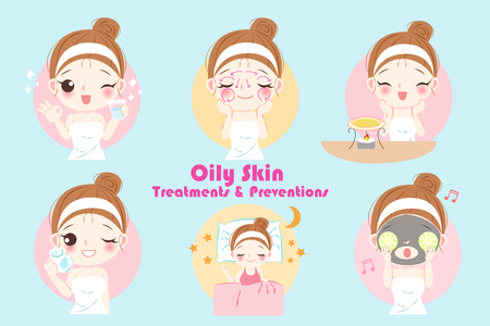 woman with oily skin treatment preservation on the blue background Illustration
