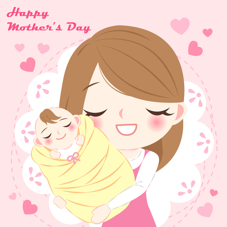 Cartoon happy mother's day with mother and baby on the pink background