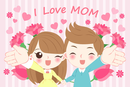 Cartoon happy mothers day on the pink background with kids and i love mom illustration with flower Illustration