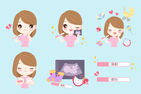 cartoon pregnant woman on the blue background with pregnancy test and women