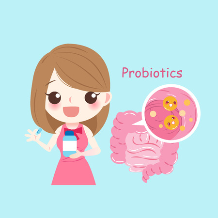Woman with probiotics on the blue background
