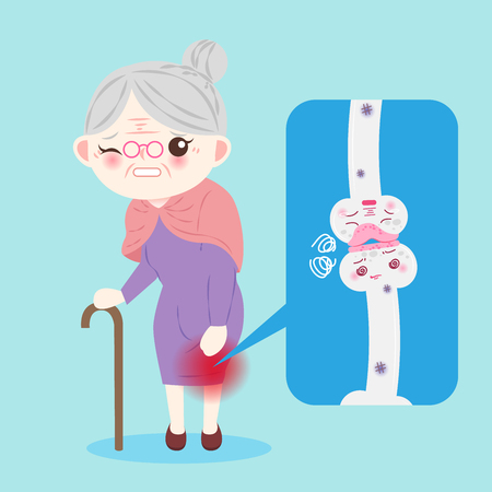 Old woman with osteoporosis problem on the blue background