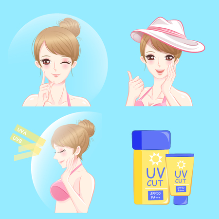 Woman with sun protection concept for summer