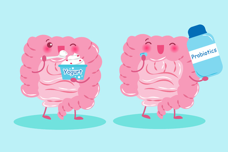 Intestine with health concept on blue background