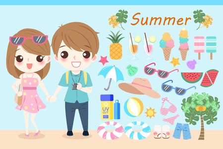 Cartoon Menschen im Sommer am Strand