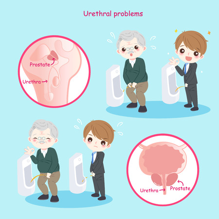 Man with urethral problems on the blue background Illustration