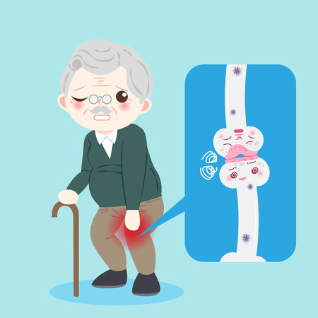 Old man with osteoporosis problem on the blue background Ilustração