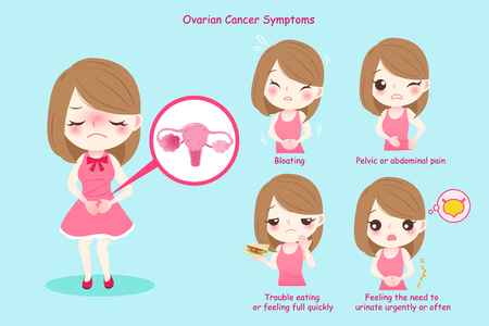 Woman with ovarian symptoms on the blue background
