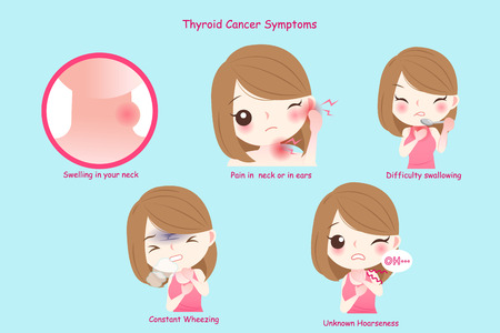 woman with thyroid cancer on the blue background Banco de Imagens - 100312033