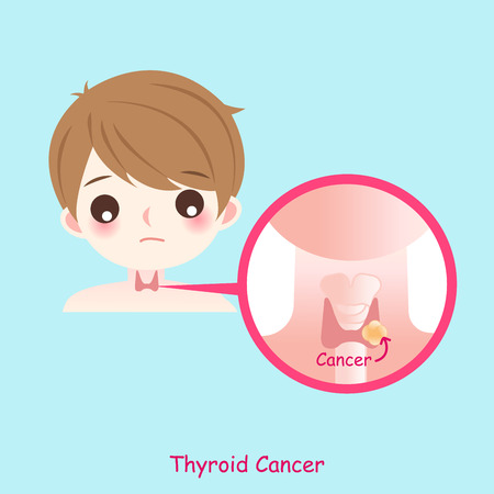 man with thyroid cancer on the blue background