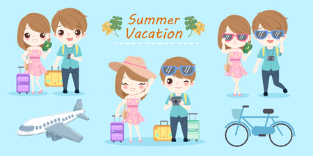 cartoon couple with summer vacation on the blue background