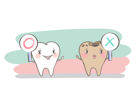 cute cartoon tooth on the hwite background
