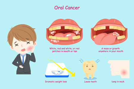 businessman with oral cancer on the blue background