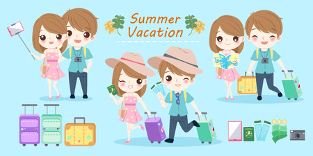 couple with summer vacation on the blue background