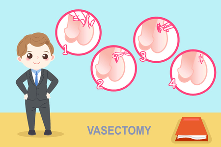 Man with vasectomy on the blue background
