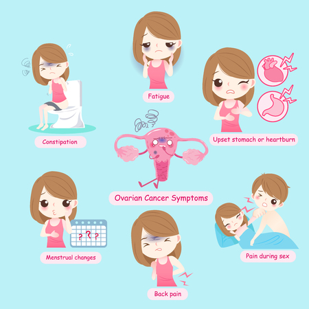 Uterine ovarian concept on the blue background Illustration