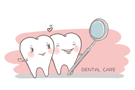 tooth with dental concept on the hwite background Illustration