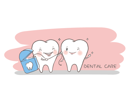 Tooth with dental care concept on the white background.