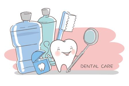 Zahn mit Zahnpflegekonzept auf dem weißen Hintergrund.
