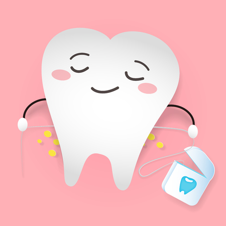 Tooth with dental floss on the pink background.