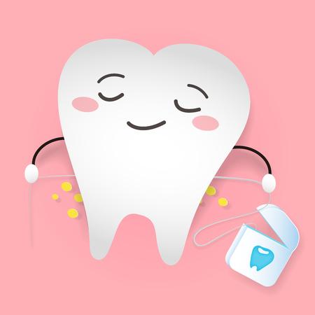 Zahn mit Zahnseide auf dem rosa Hintergrund. Vektorgrafik