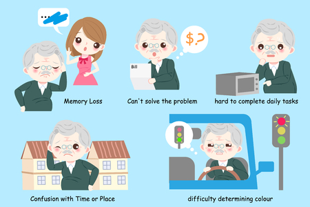 Anciano con enfermedad de Alzheimer sobre fondo azul.