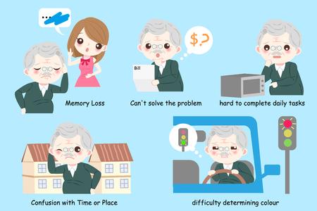 Oude man met de ziekte van Alzheimer op de blauwe achtergrond.