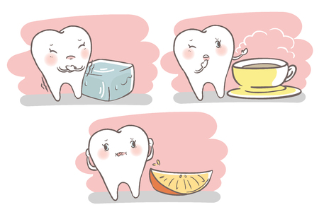 Cute cartoon tooth with sensitive problem on the white background.