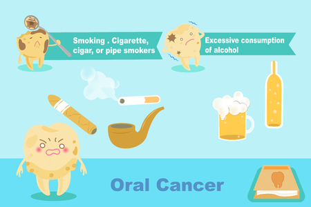 Tooth with oral cancer concept on the blue background.