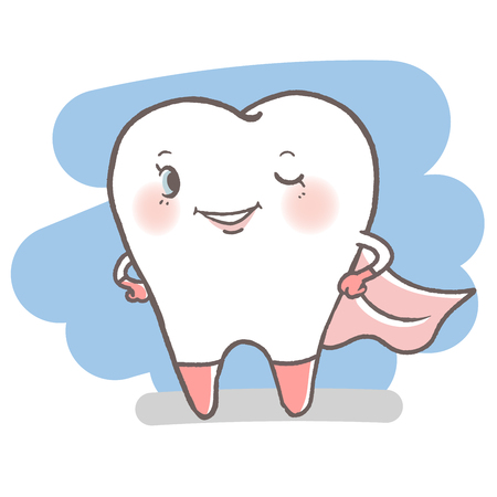 tooth with dental care concept on the white background  イラスト・ベクター素材
