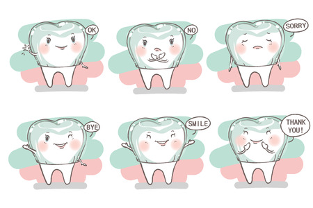 tooth wear invisible braces on the white background Illustration