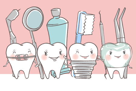 tooth with dental concept on the white background Иллюстрация