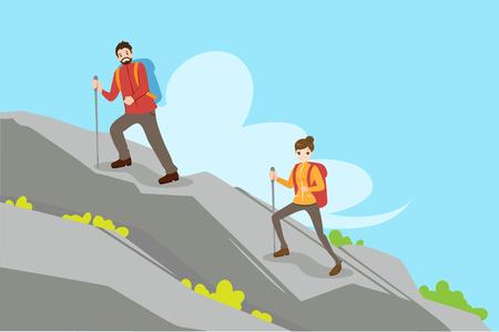cute cartoon couple climbing mountain in the morining