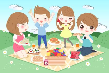 cute cartoon family feel happy with picnic