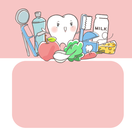 tooth with dental concept on the white background Illustration