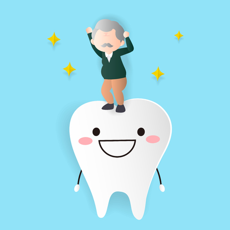 old woman with health tooth on the blue background