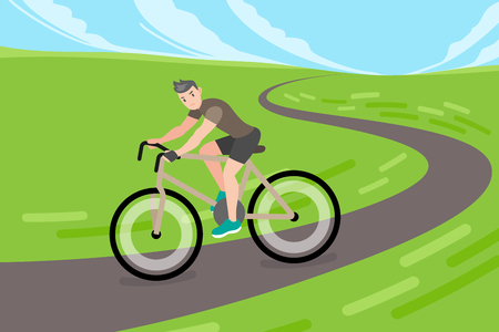 cute cartoon man riding a bicycle on road