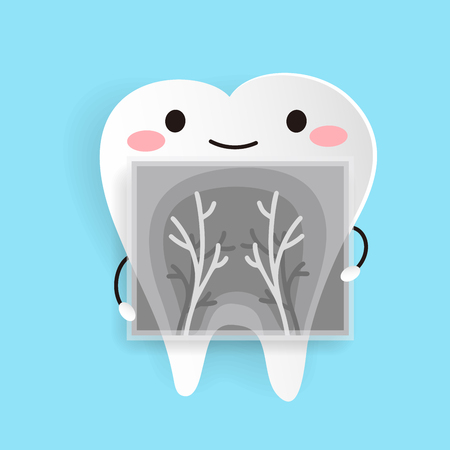 cute cartoon health tooth on the blue background