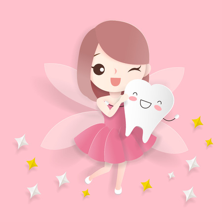 cute cartoon teeth with tooth fairy on the pink background Vector Illustration