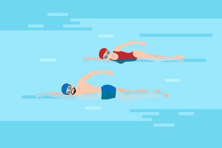 cute cartoon people swim in the pool Ilustrace