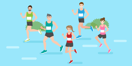 cute cartoon people are running for your sport concept