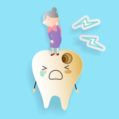 oude vrouw met tandbederf op de blauwe achtergrond