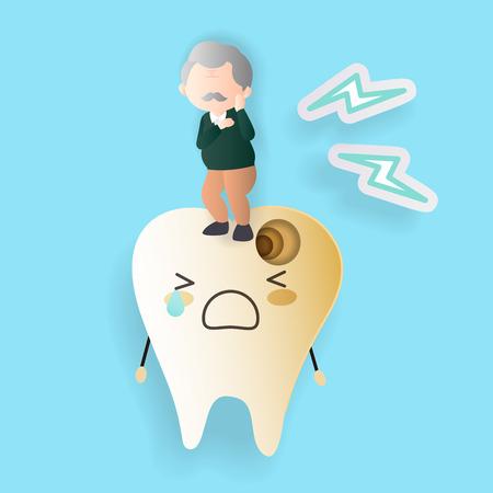oude man met tandbederf op de blauwe achtergrond