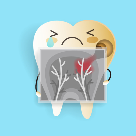 tooth with decay problem on the blue background