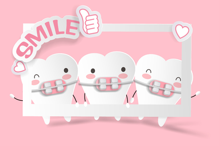 cute cartoon tooth on the pink background