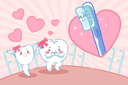 cute cartoon tooth with dental care on the green background