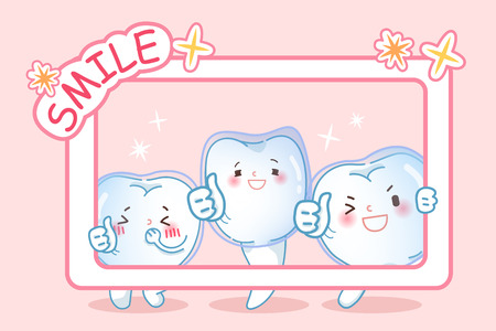 cute cartoon teeth wear invisible braces on the pink background